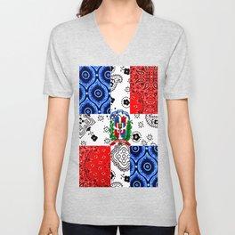 Vintage Dominican Republic Flag Unisex V-Neck