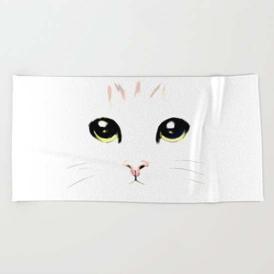 cat white Beach Towel