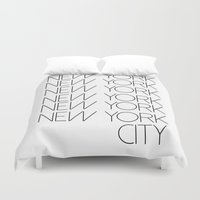 new york city Duvet Covers featuring New York New York City by Stylish in Sequins