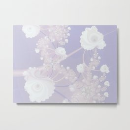 Abstract White Roses and Light Violet Purple Metal Print