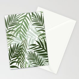 Tropical green leaves Stationery Cards
