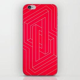 Modern minimal Line Art / Geometric Optical Illusion - Red Version  iPhone Skin