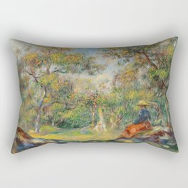 "Auguste Renoir ""Woman in a landscape"" Rectangular Pillow"