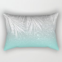 Modern tropical white palm tree silver glitter ombre on robbin egg blue turquoise Rectangular Pillow