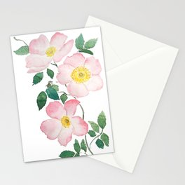 pink rosa rubiginosa watercolor Stationery Cards