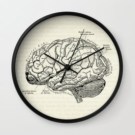 Vintage medical illustration of the human brain Wall Clock