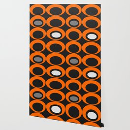 Retro Ovals Print - Orange, Black, Gray and White Wallpaper
