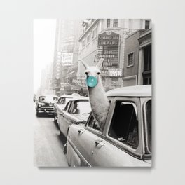 Mint Green Bubble Gum Llama taking a New York Taxi black and white photograph Metal Print