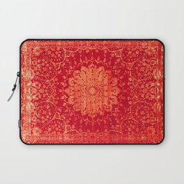 Geometric Orange Oriental Vintage Traditional Moroccan Mandala Laptop Sleeve