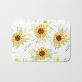 Watercolor Sunflower Bouquets   Pattern   Art Bath Mat
