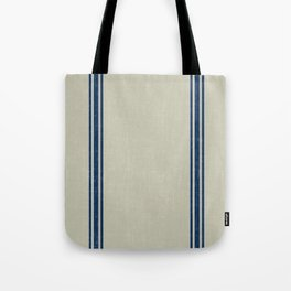 Blue Stripes on Linen color background French Grainsack Distressed Country Farmhouse Tote Bag