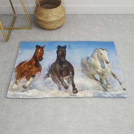 Woodstock, Connecticut - The Wild of the Winter Horses, A Portrait Rug