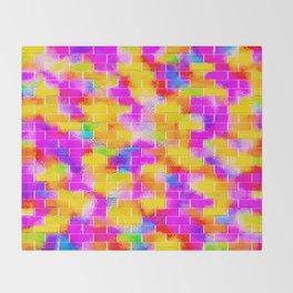BRICK WALL SMUDGED (Multicolor Vivid) Throw Blanket