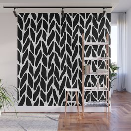 Hand Knitted Black on White Wall Mural
