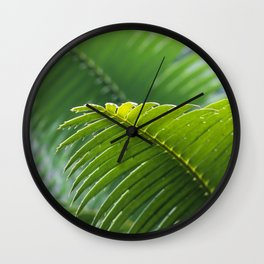 SELECTIVE FOCUS PHOTOGRAPHY OF GREEN LEAFE Wall Clock