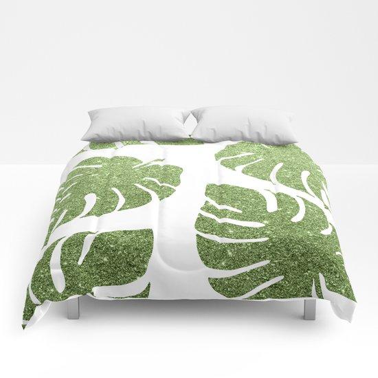 Glitter Monstera Leaves Comforters