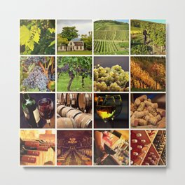 Wine Vineyard Collage - Cafe or Bar Decor Metal Print