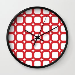 RoundSquares Red on White Wall Clock