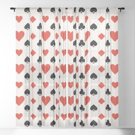 Playing Card Suit with Hearts, Spades, Clubs & Diamonds Sheer Curtain
