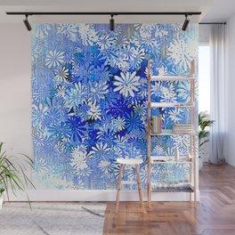 Blue Flowered Bamboo Screen Wall Mural