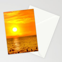 Golden hour time over beach landscape Stationery Cards