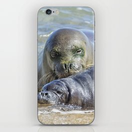 Mama Monk Seal and Pup at the Shoreline, No. 2 - RB00 and PK1 iPhone Skin