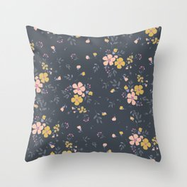 Vintage inspired whimsical floral print Throw Pillow