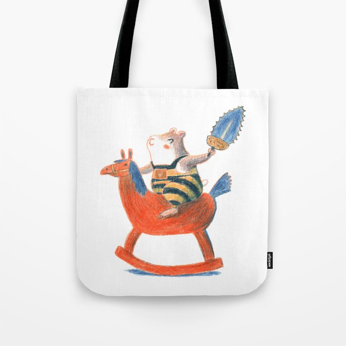 Always a child at heart - cute hamster on playhorse Tote Bag