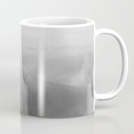 Foggy Forest on a Mountain (Black and White) Coffee Mug