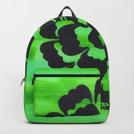Bright Green Rose Silhouette Original Art Design Backpack