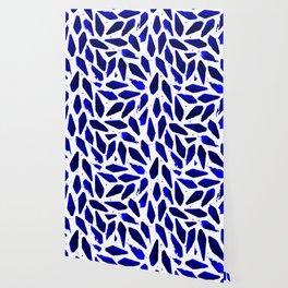 Cobalt Blue Ink Blots Wallpaper