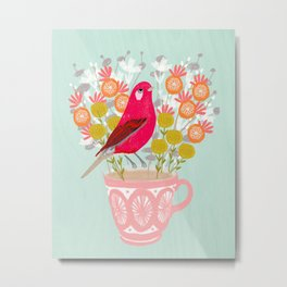 Bird on a Teacup by Andrea Lauren  Metal Print
