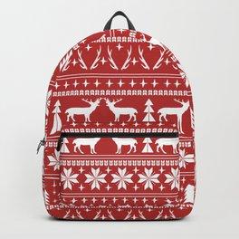 Deer christmas fair isle camping pattern snowflakes minimal winter seasonal holiday gifts Backpack