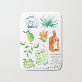 Classic Margarita Cocktail Recipe Bath Mat