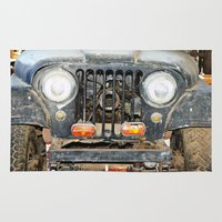 jeep Area & Throw Rugs featuring Willie Jeep by Urlaub Photography