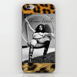 Vintage Pin Up - Stone Hard Femme Leopard iPhone Skin