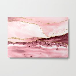 Pink And Gold Marble Waves Metal Print