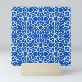 Blue Sapphire Arabic Geometry Cross-stitch Pattern Art Mini Art Print