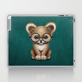Cute Baby Lion Cub Wearing Glasses on Blue Laptop & iPad Skin