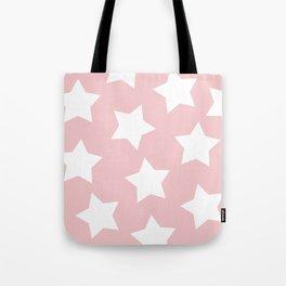 Happy Pink Star Print Tote Bag