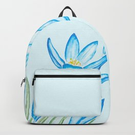 blue botanical crocus flowers watercolor Backpack
