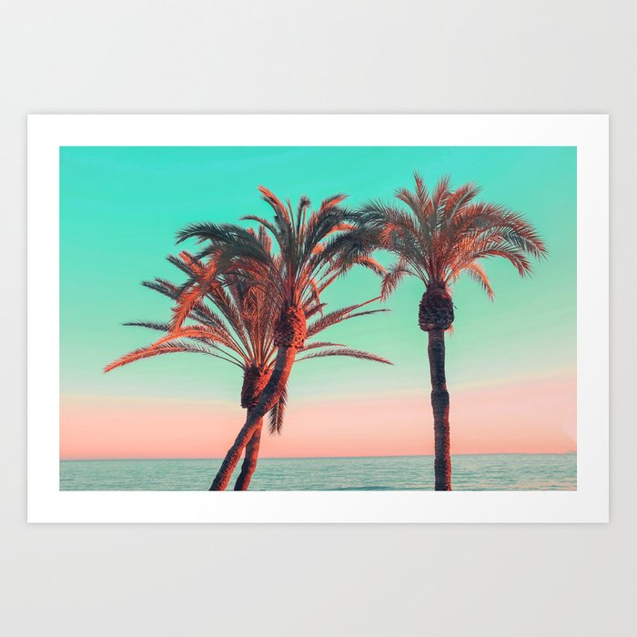 Paradise Modern Pink Turquoise Tropical Palm Tree Beach Sea Summer Photography Art Print By Audreychenal