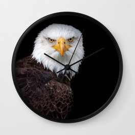 White Head Eagle with black background Wall Clock