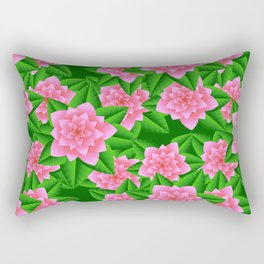 Ice Pink Camellias and Green Leaves Rectangular Pillow