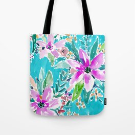 TROPICAL BENEVOLENCE Aqua Floral Tote Bag