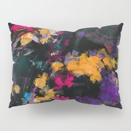 Purple and Yellow Abstract / Surrealist Painting Pillow Sham