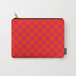 Scarlet Red and Crimson Red Checkerboard Carry-All Pouch