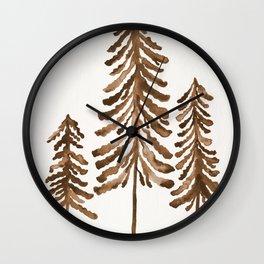 Pine Trees – Sepia Palette Wall Clock