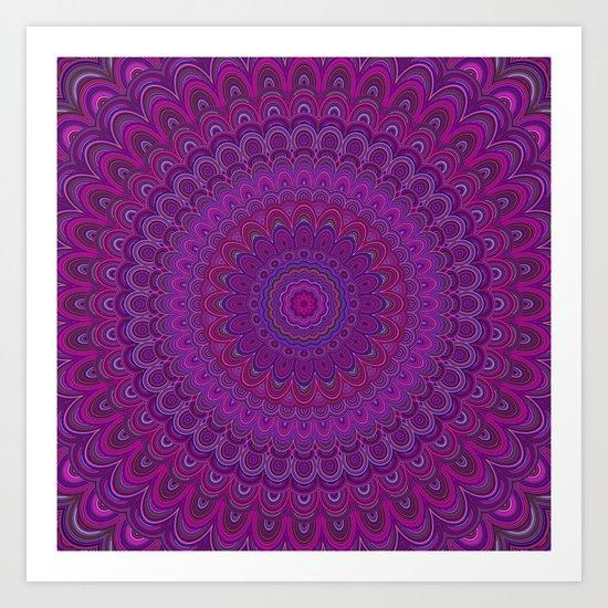 Purple flower mandala Art Print