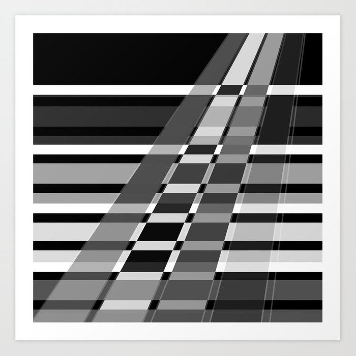 Black and white abstract pattern . The slant line 1. Art Print